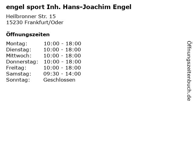 engel sport Inh. Hans-Joachim Engel in Frankfurt/Oder: Adresse und Öffnungszeiten
