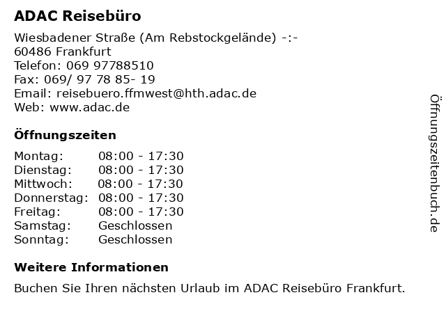 ADAC Reisebüro in Frankfurt: Adresse und Öffnungszeiten