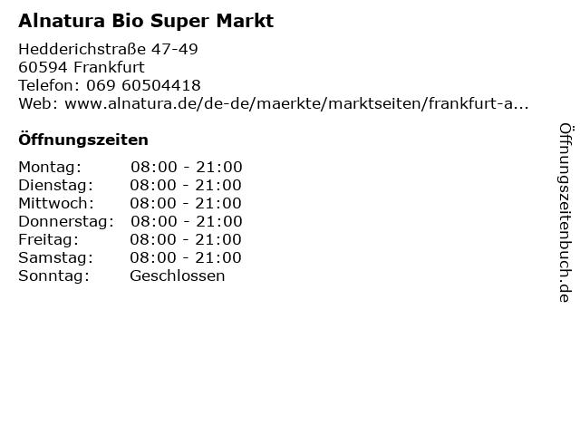 ALNATURA Super Natur Markt - Sachsenhausen in Frankfurt: Adresse und Öffnungszeiten