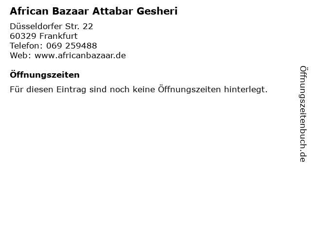African Bazaar Attabar Gesheri in Frankfurt: Adresse und Öffnungszeiten