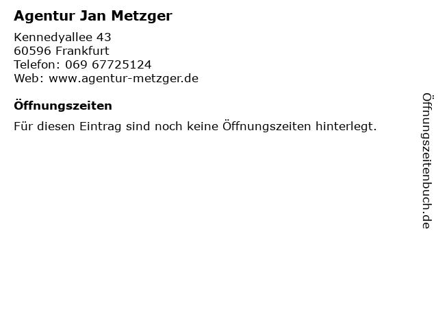 Agentur Jan Metzger in Frankfurt: Adresse und Öffnungszeiten