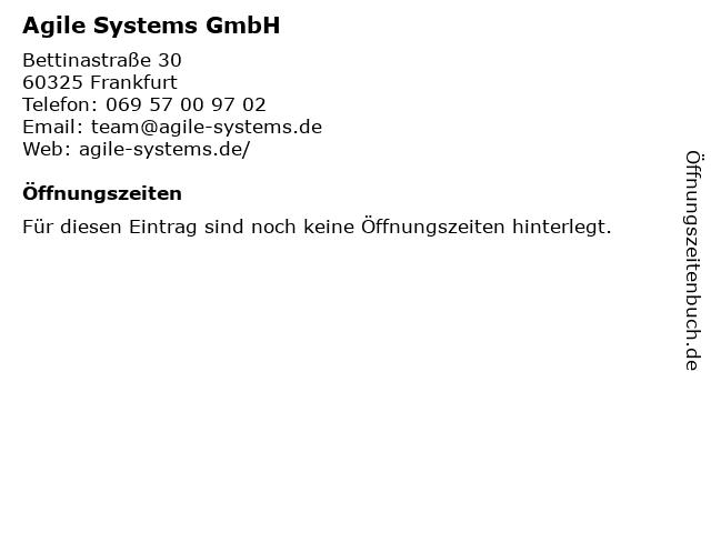 Agile Systems GmbH in Frankfurt: Adresse und Öffnungszeiten