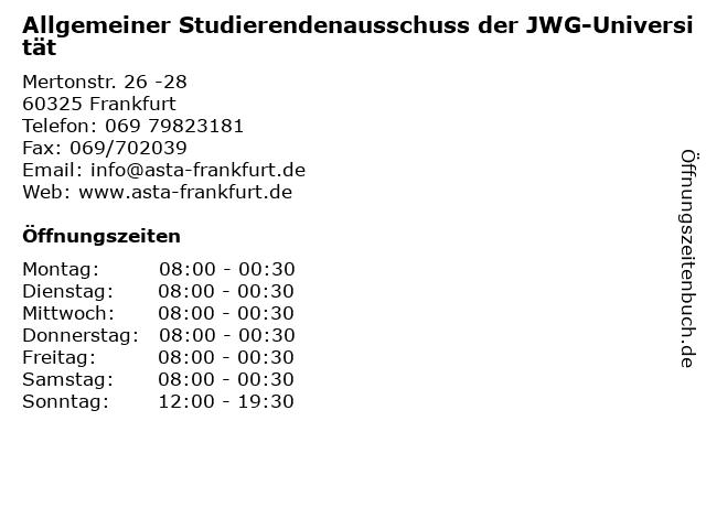 Allgemeiner Studierendenausschuss der JWG-Universität in Frankfurt: Adresse und Öffnungszeiten