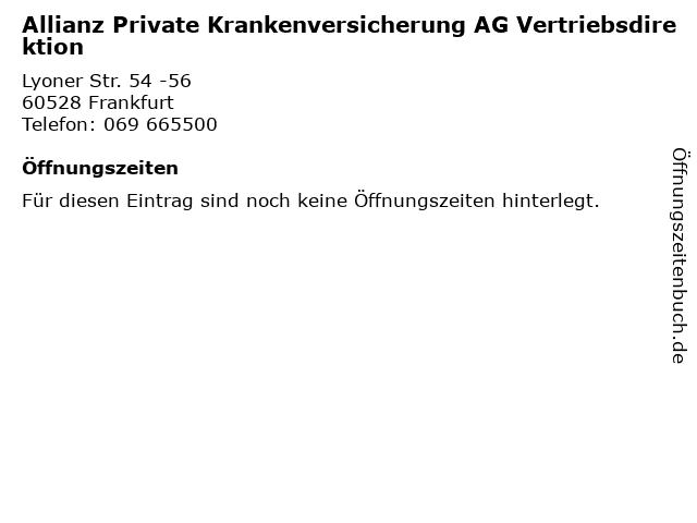 Allianz Private Krankenversicherung AG Vertriebsdirektion in Frankfurt: Adresse und Öffnungszeiten