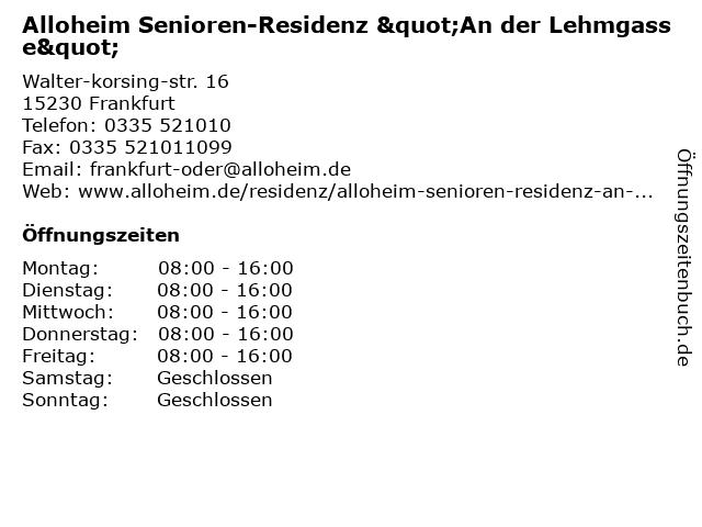 """Alloheim Senioren-Residenz """"An der Lehmgasse"""" in Frankfurt: Adresse und Öffnungszeiten"""