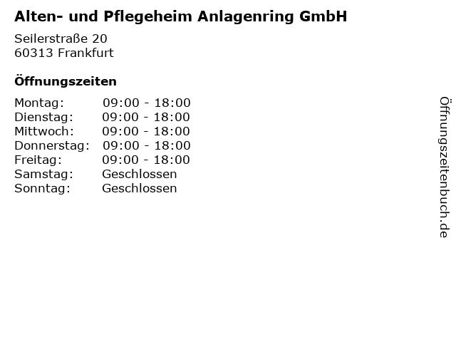 Alten- und Pflegeheim Anlagenring GmbH in Frankfurt: Adresse und Öffnungszeiten