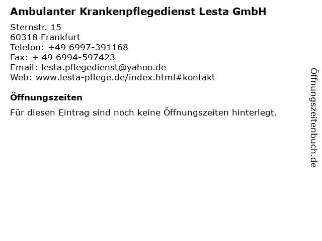 Ambulanter Krankenpflegedienst Lesta GmbH in Frankfurt: Adresse und Öffnungszeiten