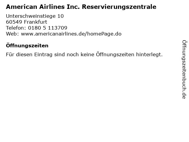 American Airlines Inc. Reservierungszentrale in Frankfurt: Adresse und Öffnungszeiten