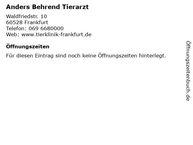 Anders Behrend Tierarzt in Frankfurt: Adresse und Öffnungszeiten