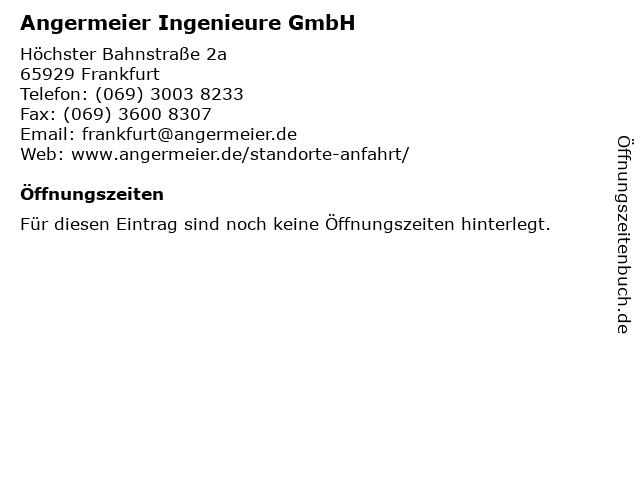 Angermeier Ingenieure GmbH in Frankfurt: Adresse und Öffnungszeiten