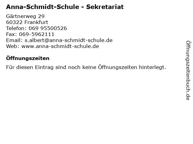 ᐅ öffnungszeiten Anna Schmidt Schule Sekretariat Gärtnerweg