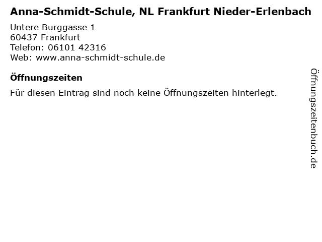 ᐅ öffnungszeiten Anna Schmidt Schule Nl Frankfurt Nieder