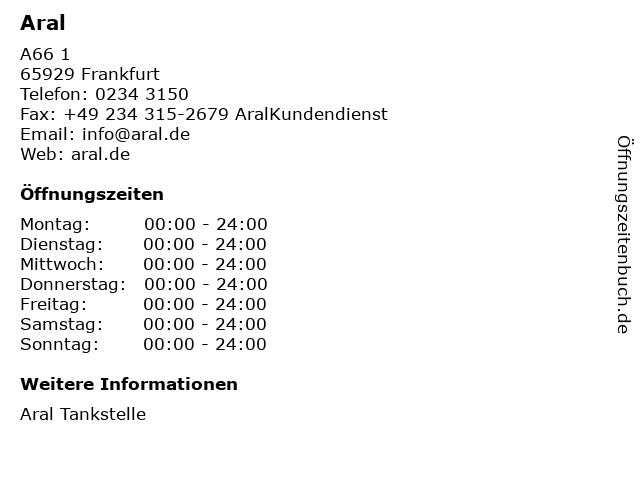 Aral in Frankfurt: Adresse und Öffnungszeiten