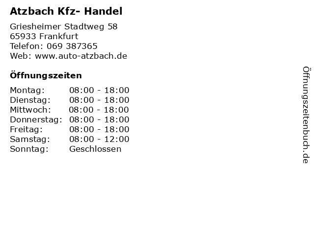 Atzbach Kfz- Handel in Frankfurt: Adresse und Öffnungszeiten