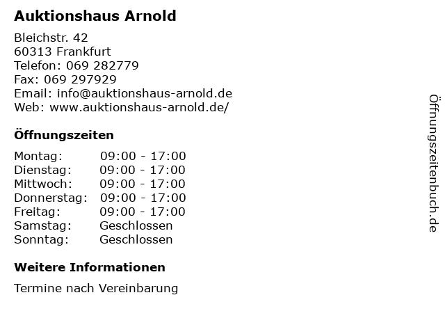 Auktionshaus Arnold in Frankfurt: Adresse und Öffnungszeiten