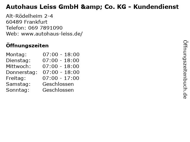Autohaus Leiss GmbH & Co. KG - Kundendienst in Frankfurt: Adresse und Öffnungszeiten