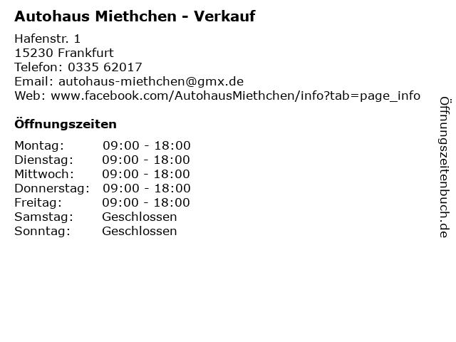 Autohaus Miethchen - Verkauf in Frankfurt: Adresse und Öffnungszeiten