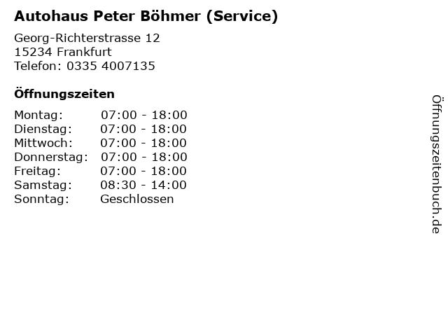 Autohaus Peter Böhmer (Service) in Frankfurt: Adresse und Öffnungszeiten