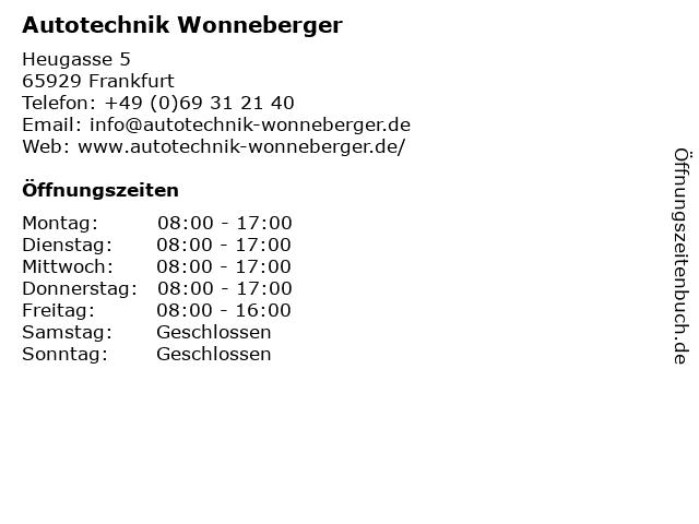 Autotechnik Wonneberger in Frankfurt: Adresse und Öffnungszeiten