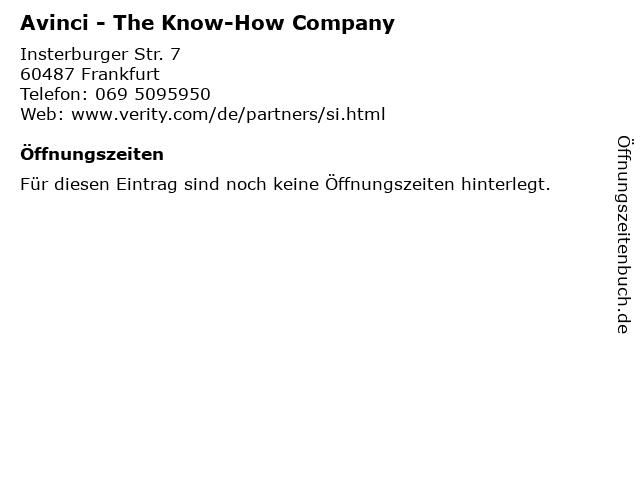 Avinci - The Know-How Company in Frankfurt: Adresse und Öffnungszeiten
