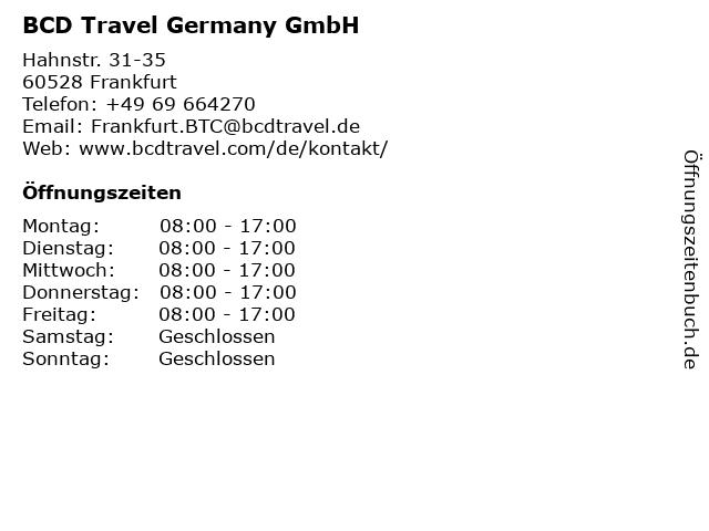 BCD Travel Germany GmbH in Frankfurt: Adresse und Öffnungszeiten