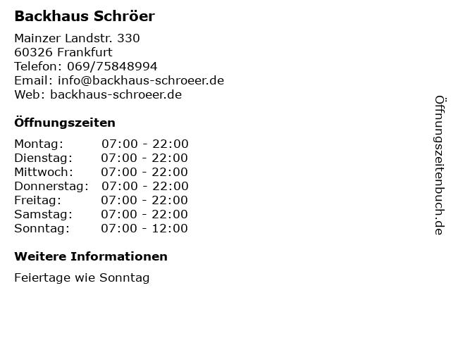 Backhaus Schröer in Frankfurt: Adresse und Öffnungszeiten