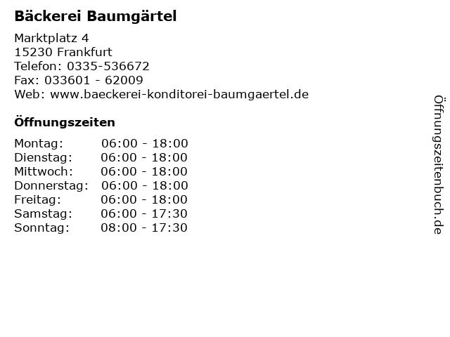 Bäckerei Baumgärtel in Frankfurt: Adresse und Öffnungszeiten