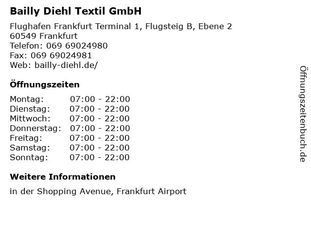 Bailly Diehl Textil GmbH in Frankfurt: Adresse und Öffnungszeiten
