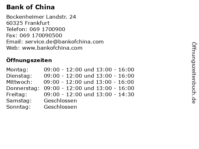 Bank of China in Frankfurt: Adresse und Öffnungszeiten