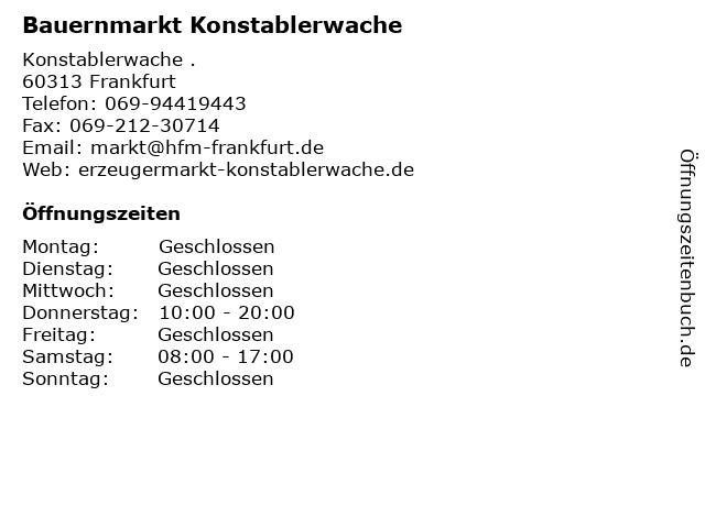 Bauernmarkt Konstablerwache in Frankfurt: Adresse und Öffnungszeiten