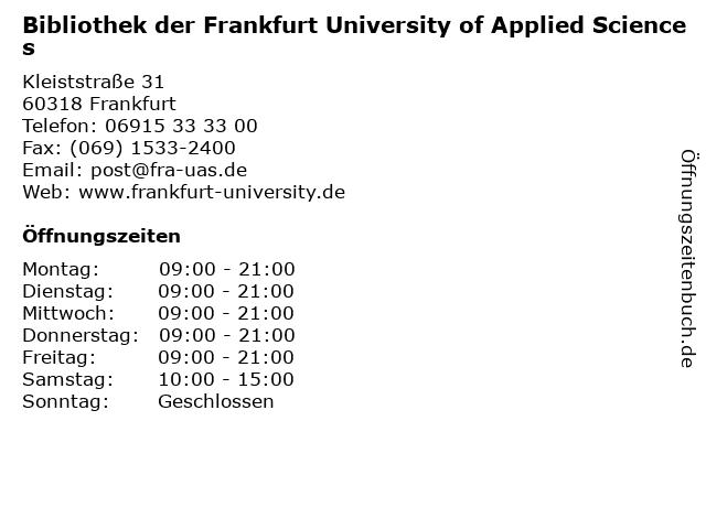Bibliothek der Frankfurt University of Applied Sciences in Frankfurt: Adresse und Öffnungszeiten