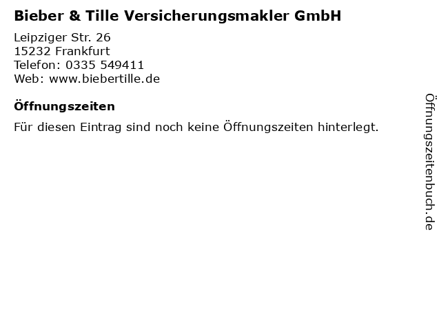 Bieber & Tille Versicherungsmakler GmbH in Frankfurt: Adresse und Öffnungszeiten