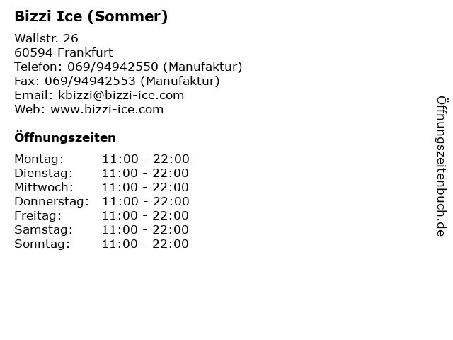 Bizzi Ice (Sommer) in Frankfurt: Adresse und Öffnungszeiten