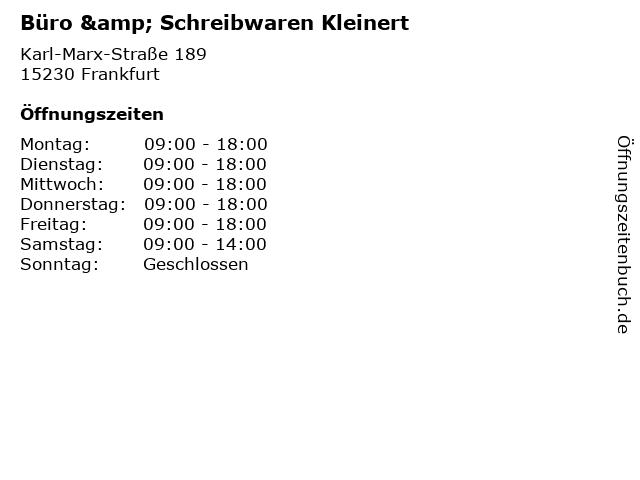 Büro & Schreibwaren Kleinert in Frankfurt: Adresse und Öffnungszeiten