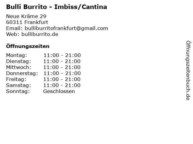 Bulli Burrito - Imbiss/Cantina in Frankfurt: Adresse und Öffnungszeiten
