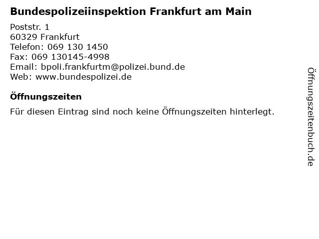 Bundespolizeiinspektion Frankfurt am Main in Frankfurt: Adresse und Öffnungszeiten