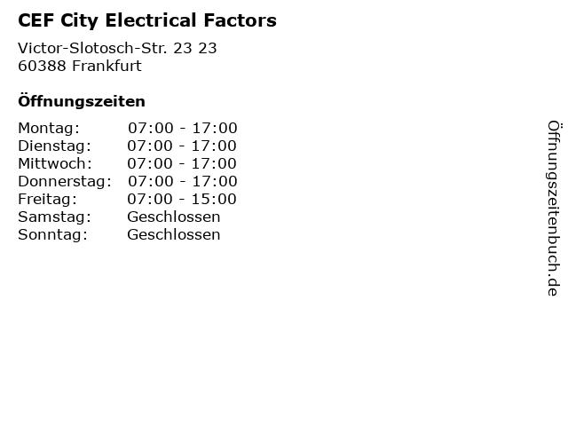 CEF City Electrical Factors in Frankfurt: Adresse und Öffnungszeiten