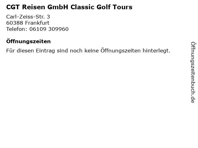 CGT Reisen GmbH Classic Golf Tours in Frankfurt: Adresse und Öffnungszeiten