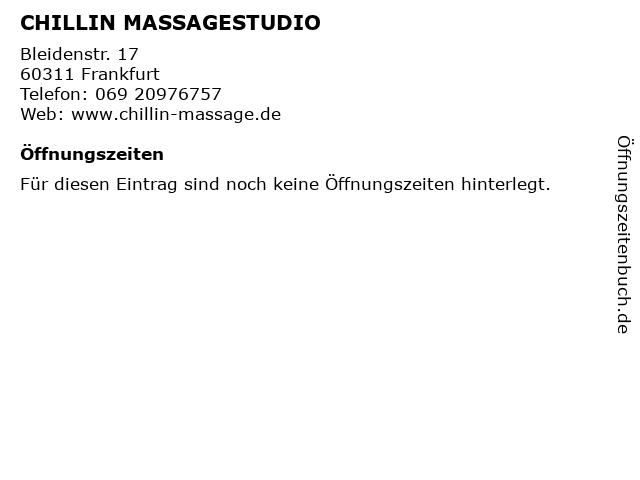 CHILLIN MASSAGESTUDIO in Frankfurt: Adresse und Öffnungszeiten