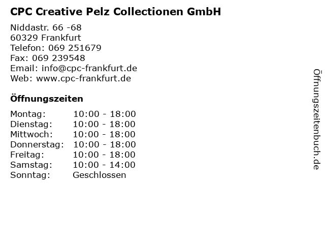 CPC Creative Pelz Collectionen GmbH in Frankfurt: Adresse und Öffnungszeiten