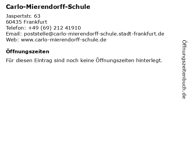 ᐅ öffnungszeiten Carlo Mierendorff Schule Jaspertstr 63 In