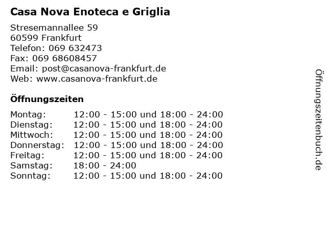 Casa Nova Enoteca e Griglia in Frankfurt: Adresse und Öffnungszeiten