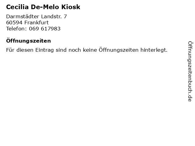 Cecilia De-Melo Kiosk in Frankfurt: Adresse und Öffnungszeiten