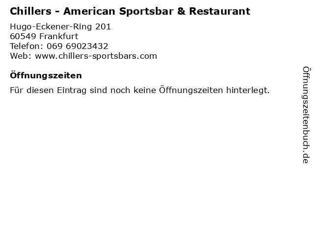 Chillers - American Sportsbar & Restaurant in Frankfurt: Adresse und Öffnungszeiten