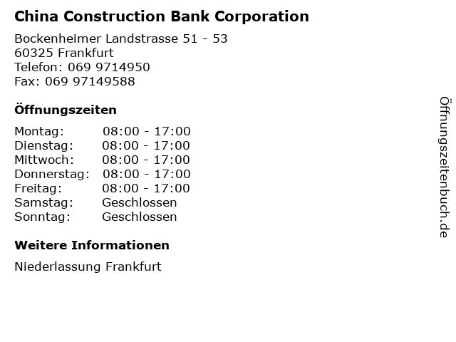 China Construction Bank Corporation in Frankfurt: Adresse und Öffnungszeiten