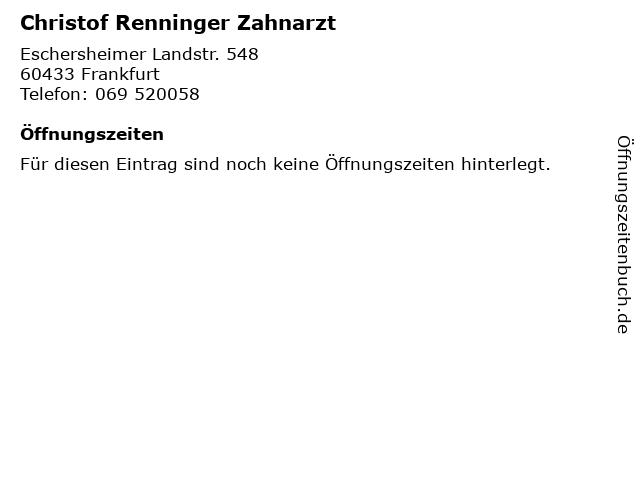 Christof Renninger Zahnarzt in Frankfurt: Adresse und Öffnungszeiten