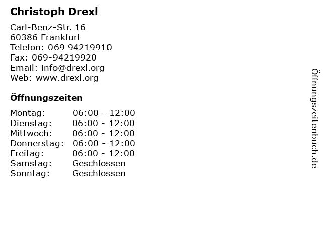 Christoph Drexl in Frankfurt: Adresse und Öffnungszeiten