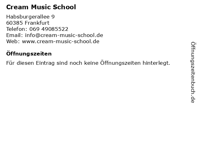 Cream Music School in Frankfurt: Adresse und Öffnungszeiten