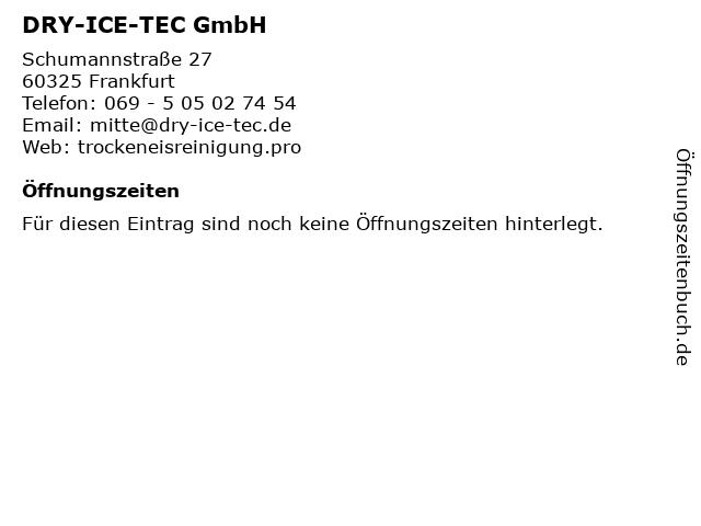 DRY-ICE-TEC GmbH in Frankfurt: Adresse und Öffnungszeiten