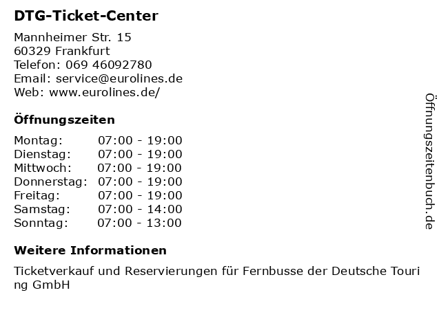 DTG-Ticket-Center in Frankfurt: Adresse und Öffnungszeiten